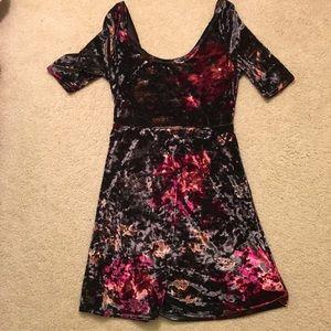 UO Velvet gray dress w/ pink florals skater skirt